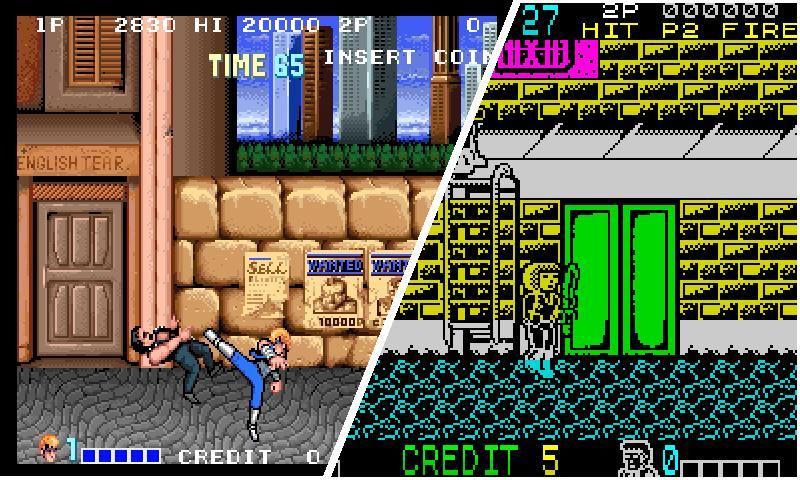arcade and spectrum  double dragon comparison
