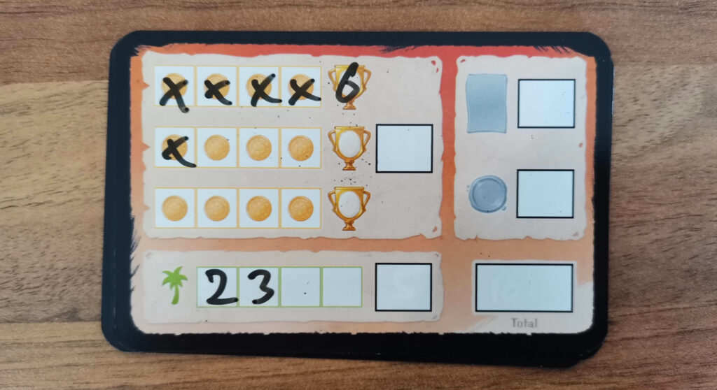 scoring card in play