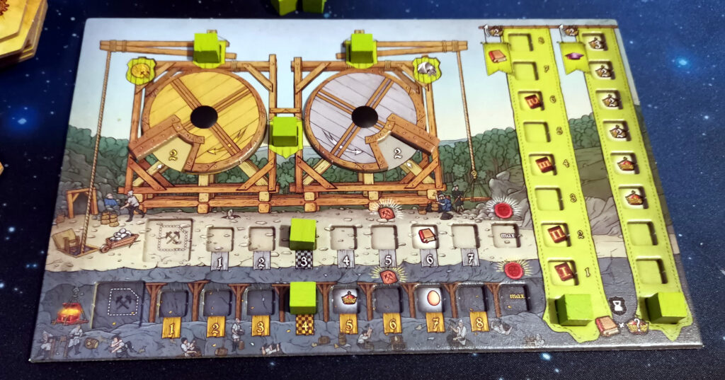 the player board at the start of the game