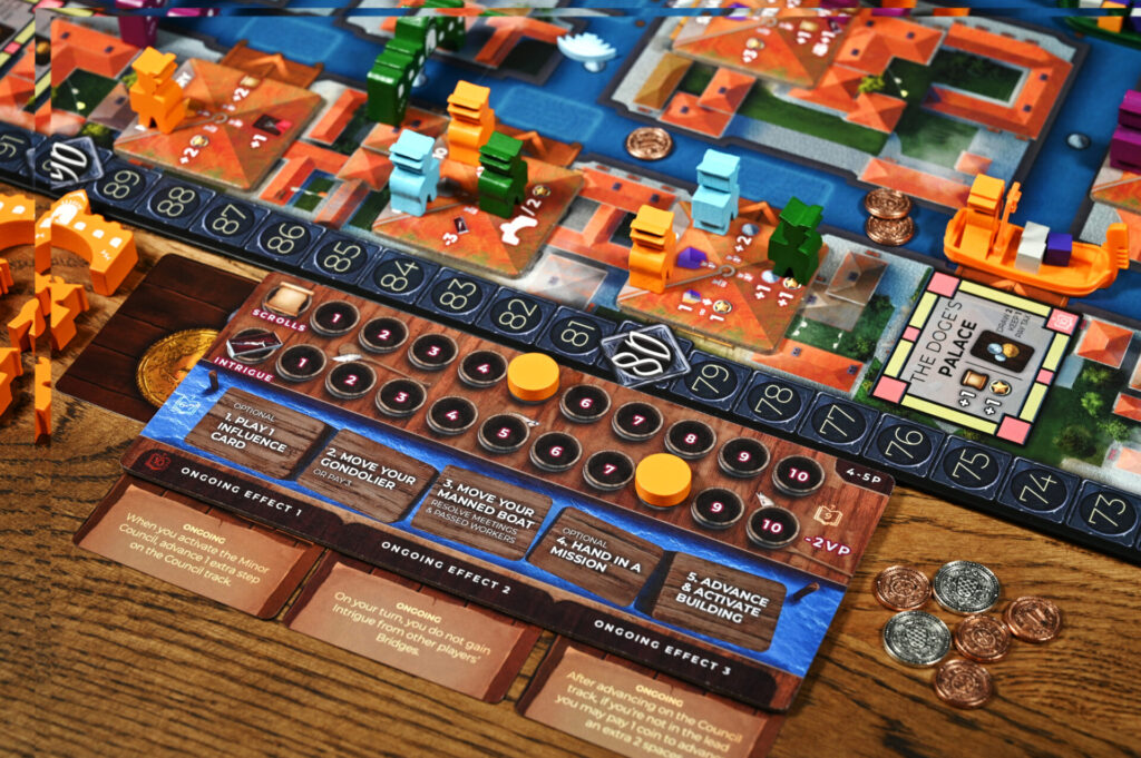 player board and metal coins
