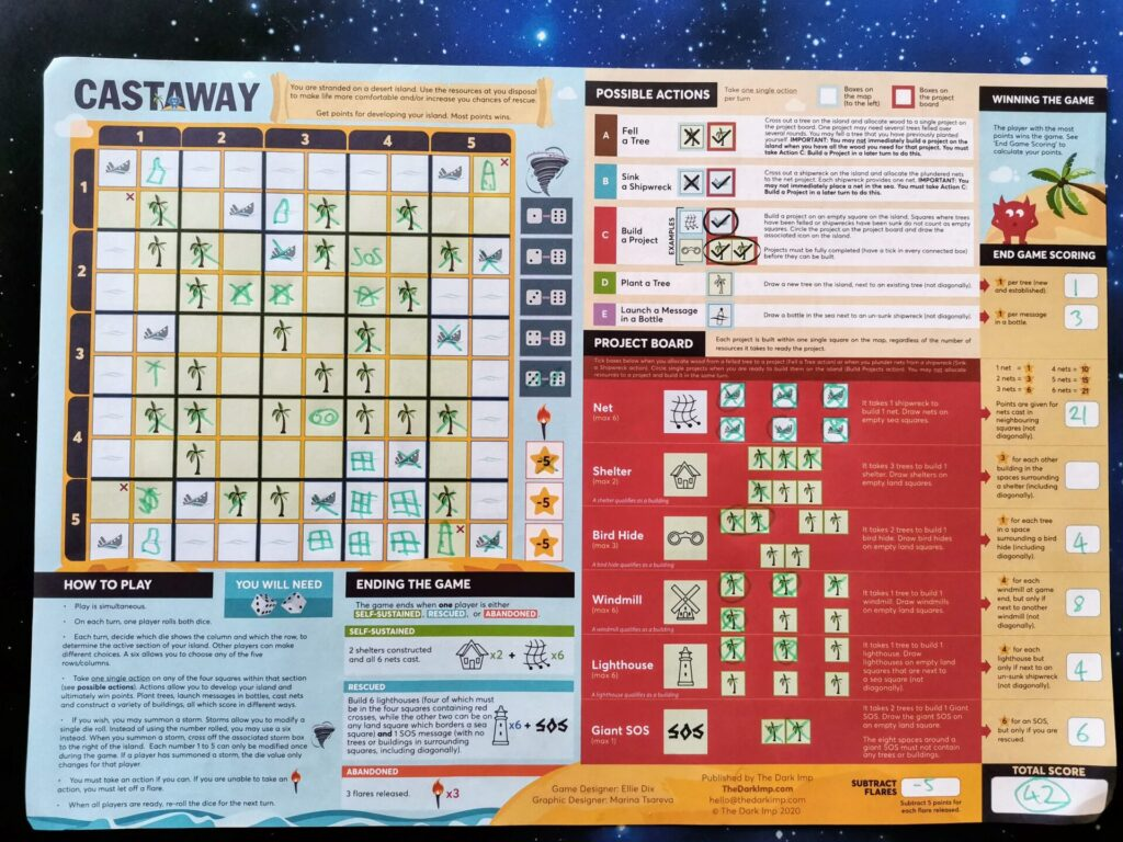 Castaway placemat game