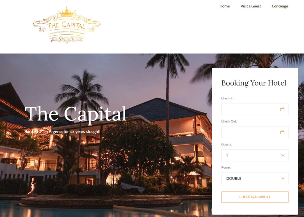 webscapade hotel booking screen